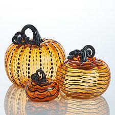Spooky Pumpkins by Leonoff Art Glass  (Art Glass Sculpture)