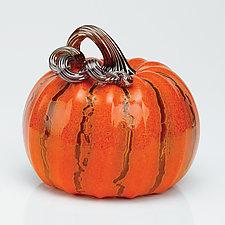 Autumn Crackle Pumpkin Set by Leonoff Art Glass  (Art Glass Sculpture)