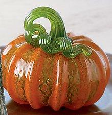 Orange and Green Crackle Pumpkins by Leonoff Art Glass  (Art Glass Sculpture)