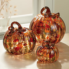 Harvest Surreal Pumpkins with Amber Stems by Leonoff Art Glass  (Art Glass Sculpture)