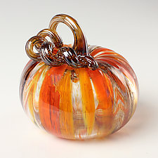 Harvest Surreal Pumpkins with Amber Stems by Leonoff Art Glass (Art Glass Sculpture)