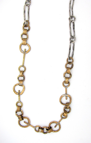 Brass Key Links Necklace with Hammered Ovals