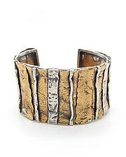 Layered Patchwork Cuff Bracelet by Lauren Passenti (Gold & Silver Bracelet)