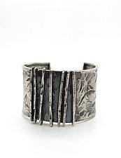 Hammered Lines Silver Cuff Bracelet by Lauren Passenti (Silver Bracelet)