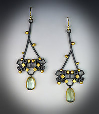 Jeweled Dandelion Earrings by Bethany Montana (Gold, Silver & Stone Earrings)