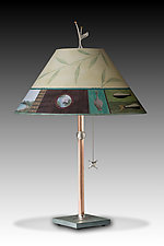 Twin Fish Copper Table Lamp by Janna Ugone (Mixed-Media Table Lamp)