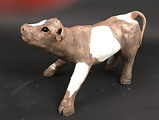 Mooing Calf by Ronnie Gould (Ceramic Sculpture)