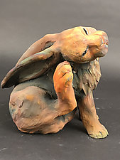 Grooming Rabbit by Ronnie Gould (Ceramic Sculpture)
