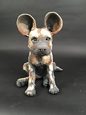 African Painted Dog Pup by Ronnie Gould (Ceramic Sculpture)