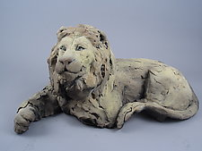 Resting Lion by Ronnie Gould (Ceramic Sculpture)