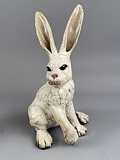 Large-Eared Rabbit by Ronnie Gould (Ceramic Sculpture)