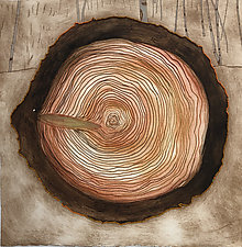 Tree Rings Variable Edition, 13/25, Alla Poupee by Diana Arcadipone (Monotype Print)