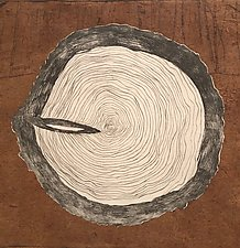 Tree Rings Variable Edition 2/25, Chine Colle by Diana Arcadipone (Monotype Print)
