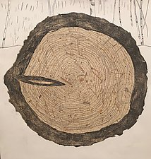 Tree Rings Variable Edition, 3/25 Chine Colle by Diana Arcadipone (Monotype Print)
