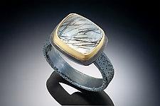 Tourmilated Quartz Rectangular Ring by Robin  Sulkes (Gold, Silver & Stone Ring)