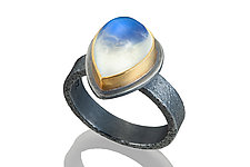 Moonstone Teardrop Ring by Robin  Sulkes (Gold, Silver & Stone Ring)
