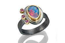 Opal and Ruby Ring by Robin  Sulkes (Gold, Silver & Stone Ring)