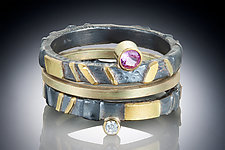 Pink Sapphire and Diamond Stacking Rings by Robin  Sulkes (Gold, Silver & Stone Rings)