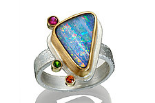 Boulder Opal, Sapphire, and Tsavorite Ring by Robin  Sulkes (Gold, Silver & Stone Ring)