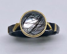 Round Tourmilated Quartz Ring by Robin  Sulkes (Gold & Stone Ring)
