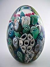 Ocean Reef Paperweight Egg by Michael Egan (Art Glass Paperweight)