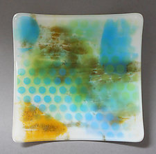 Blue Dot Plate by Martha Pfanschmidt (Art Glass Platter)