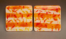 Red Leaves Coasters by Martha Pfanschmidt (Art Glass Coasters)