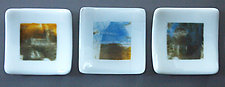 Three Small Abstract Dishes by Martha Pfanschmidt (Art Glass Plates)