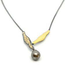 Large Single Tahitian Pearl Necklace by Suzanne Schwartz (Gold, Silver & Stone Necklace)