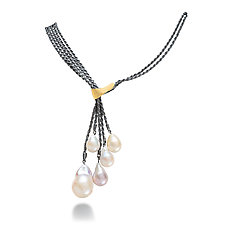 Five-Drop Pearl Necklace by Suzanne Schwartz (Gold, Silver & Pearl Necklace)