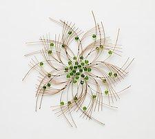 Little Green Flower II by Charissa Brock (Art Glass & Bamboo Wall Sculpture)