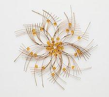 Little Yellow Flower II by Charissa Brock (Art Glass & Bamboo Wall Sculpture)