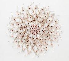 Big Orange Flower by Charissa Brock (Art Glass & Bamboo Wall Sculpture)