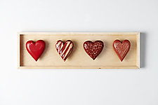 Four Horizontal Hearts by Amy Arnold and Kelsey  Sauber Olds (Wood Wall Sculpture)