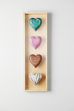 Four Vertical Hearts by Amy Arnold and Kelsey  Sauber Olds (Wood Wall Sculpture)