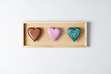 Three Horizonal Hearts by Amy Arnold and Kelsey  Sauber Olds (Wood Wall Sculpture)