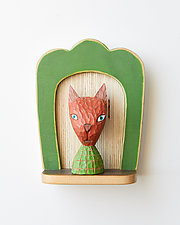 Orange Cat Mini by Amy Arnold and Kelsey  Sauber Olds (Wood Wall Sculpture)