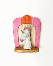 Unicorn Mini by Amy Arnold and Kelsey  Sauber Olds (Wood Wall Sculpture)
