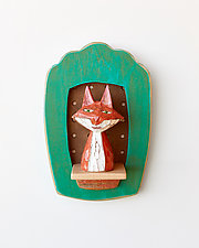 Fox Mini II by Amy Arnold and Kelsey  Sauber Olds (Wood Wall Sculpture)
