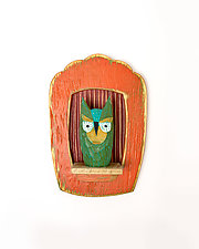 Screech Owl Mini by Amy Arnold and Kelsey  Sauber Olds (Wood Wall Sculpture)