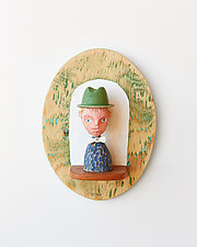Hat Man Mini by Amy Arnold and Kelsey  Sauber Olds (Wood Wall Sculpture)
