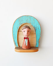 Bowtie Man Mini by Amy Arnold and Kelsey  Sauber Olds (Wood Wall Sculpture)