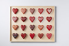 Twenty Heart Horizontal Shadowbox by Amy Arnold and Kelsey  Sauber Olds (Wood Wall Sculpture)
