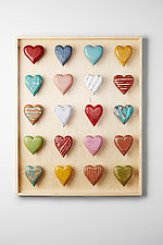 Twenty Heart Vertical Shadowbox by Amy Arnold and Kelsey  Sauber Olds (Wood Wall Sculpture)