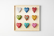 Nine Heart Shadowbox by Amy Arnold and Kelsey  Sauber Olds (Wood Wall Sculpture)