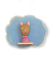 Cat on Cloud Mini by Amy Arnold and Kelsey  Sauber Olds (Wood Wall Sculpture)