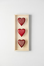 Three Vertical Hearts by Amy Arnold and Kelsey  Sauber Olds (Wood Wall Sculpture)