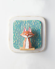 Fox on Square Mini by Amy Arnold and Kelsey  Sauber Olds (Wood Wall Sculpture)