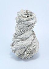 Thaleia Twisted Soft Gray Vessel by Judi Tavill (Ceramic Vase)