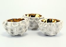 White with Gold Luster Arista Sister Bowls by Judi Tavill (Ceramic Bowl)